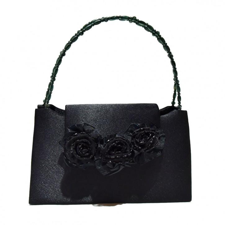 Handbag black rose