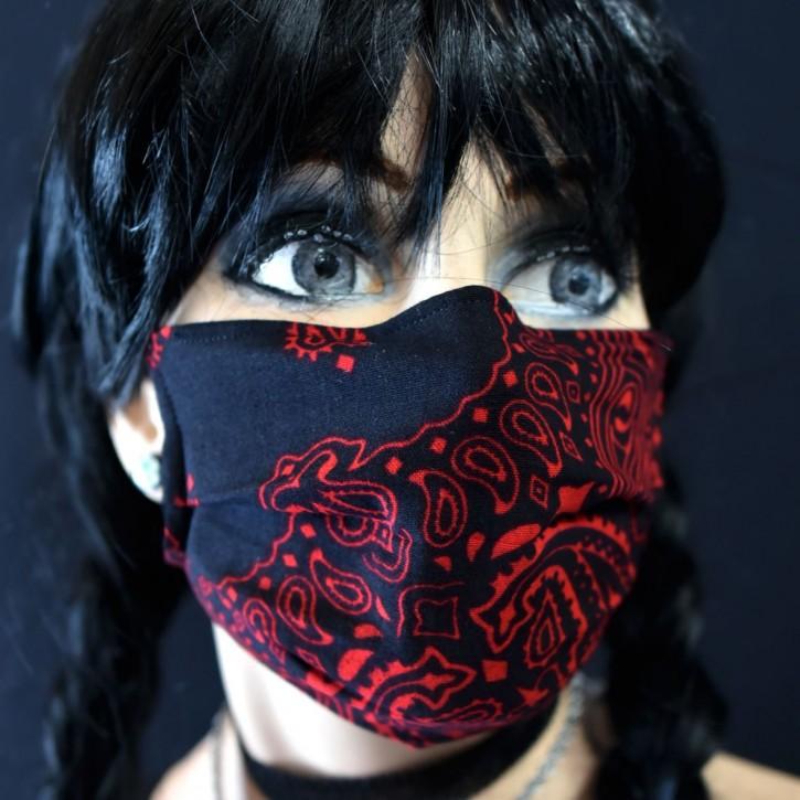 """Mund-Nasen Behelfs Maske """"Paisley Red"""""""