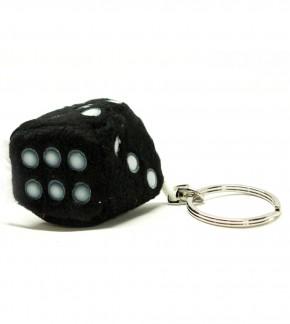 Schlüsselanhänger Würfel aus Plüsch Schwarz