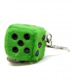 Schlüsselanhänger Würfel aus Plüsch Grün
