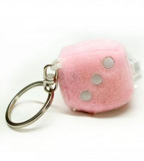Schlüsselanhänger Würfel aus Plüsch Rosa