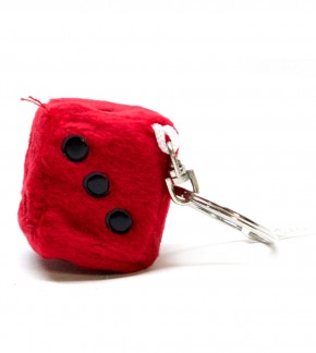 Schlüsselanhänger Würfel aus Plüsch Rot
